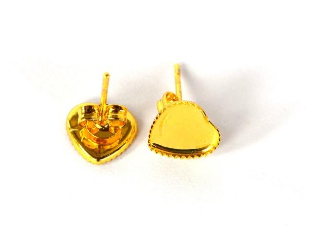 dbf1d67a8 Náušnice - lôžka, tvar srdce, zlatá farba - 1 pár + kovové zarážky empty